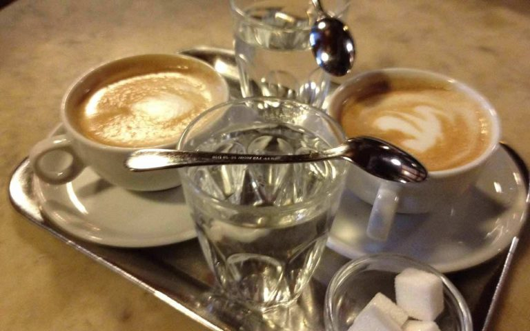 Vienna Coffee is still served on a silver plate