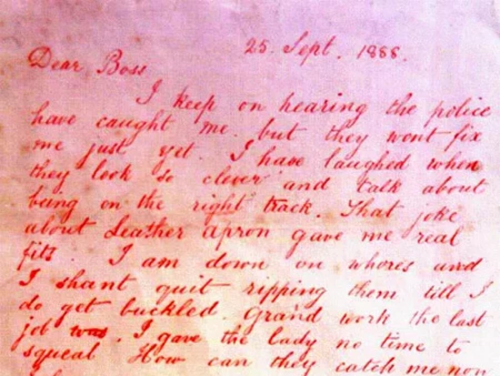"""I keep on hearing the police has caught me.."", Jack the Ripper wrote in a letter"