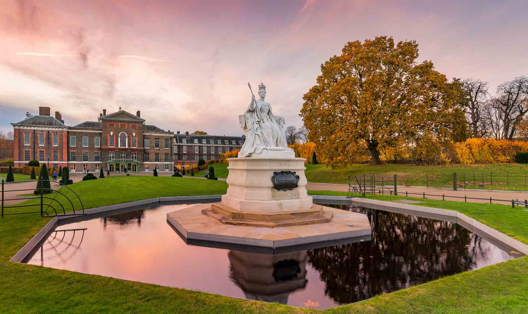 Kensington Gardens is planted with avenues of trees and ornamental flower beds