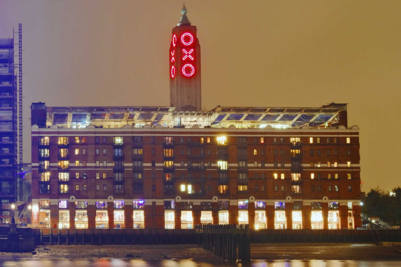 Oxo Tower and the giant letters in three vast windows filled with red glass.