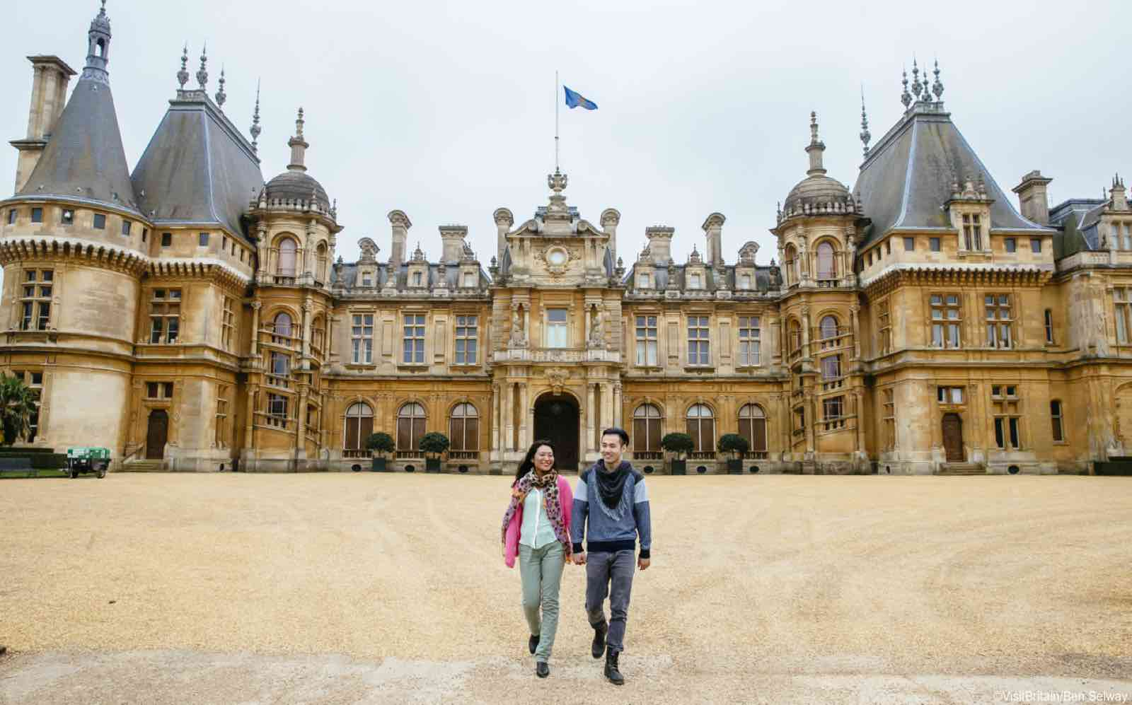 A couple enjoying the morning walk at Waddesdon Manor