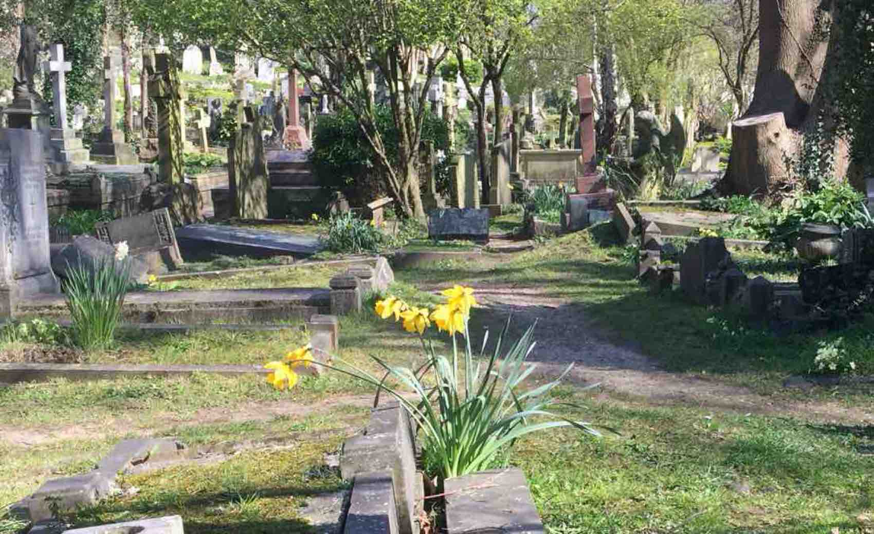 Highgate Cemetery, home to many well-known residents. The most famous of all is Karl Marx