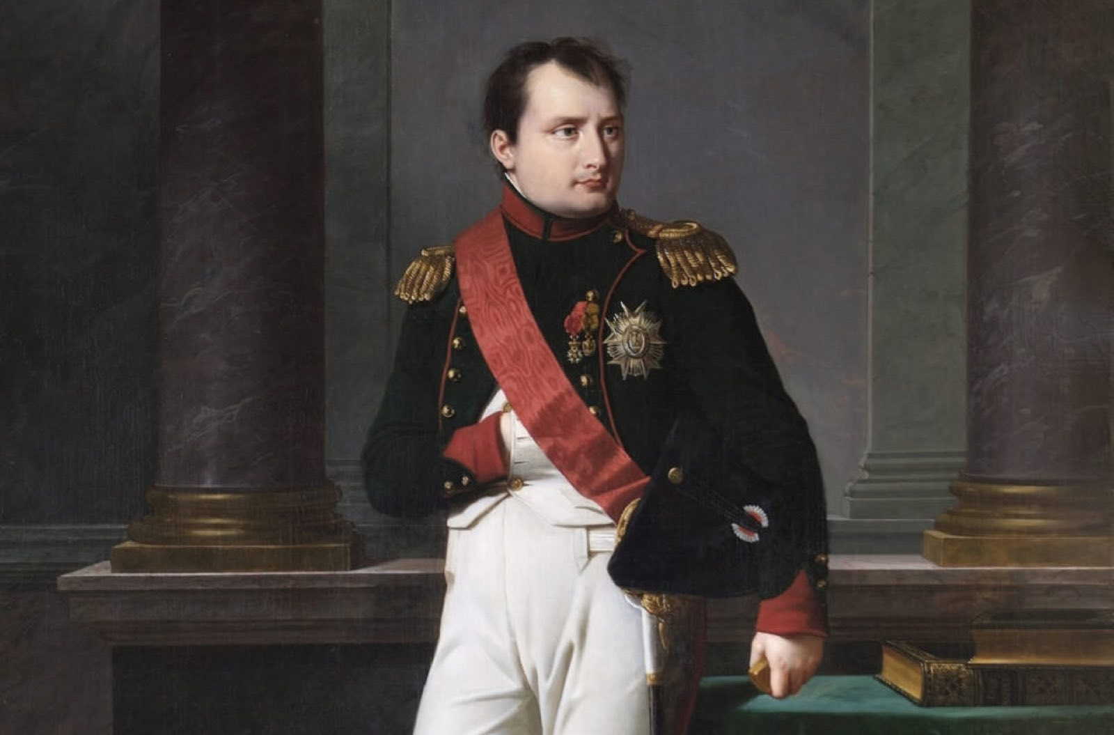 Paintings by many famous artists and this one of Napoleon