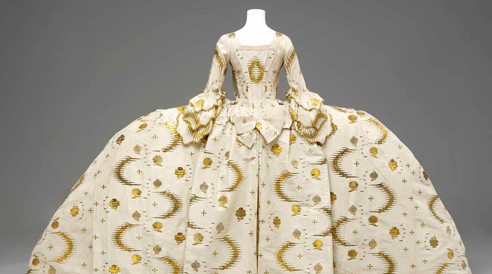 A mantua outfit from the 18th century on show at Victoria & AlbertMuseum in South Kensington