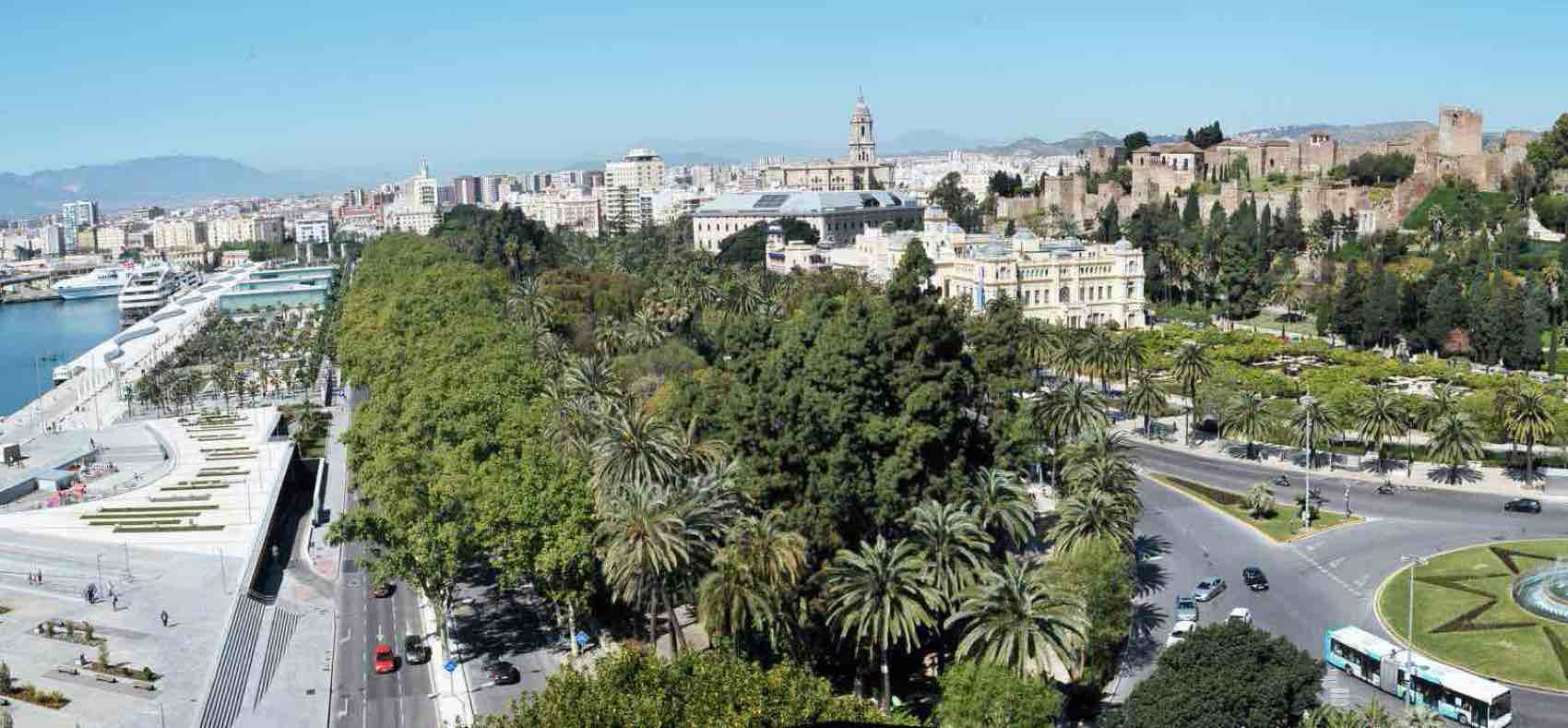 Central part of Malaga: The harbor, the park, Alcazaba and the tower at Malaga Cathedral