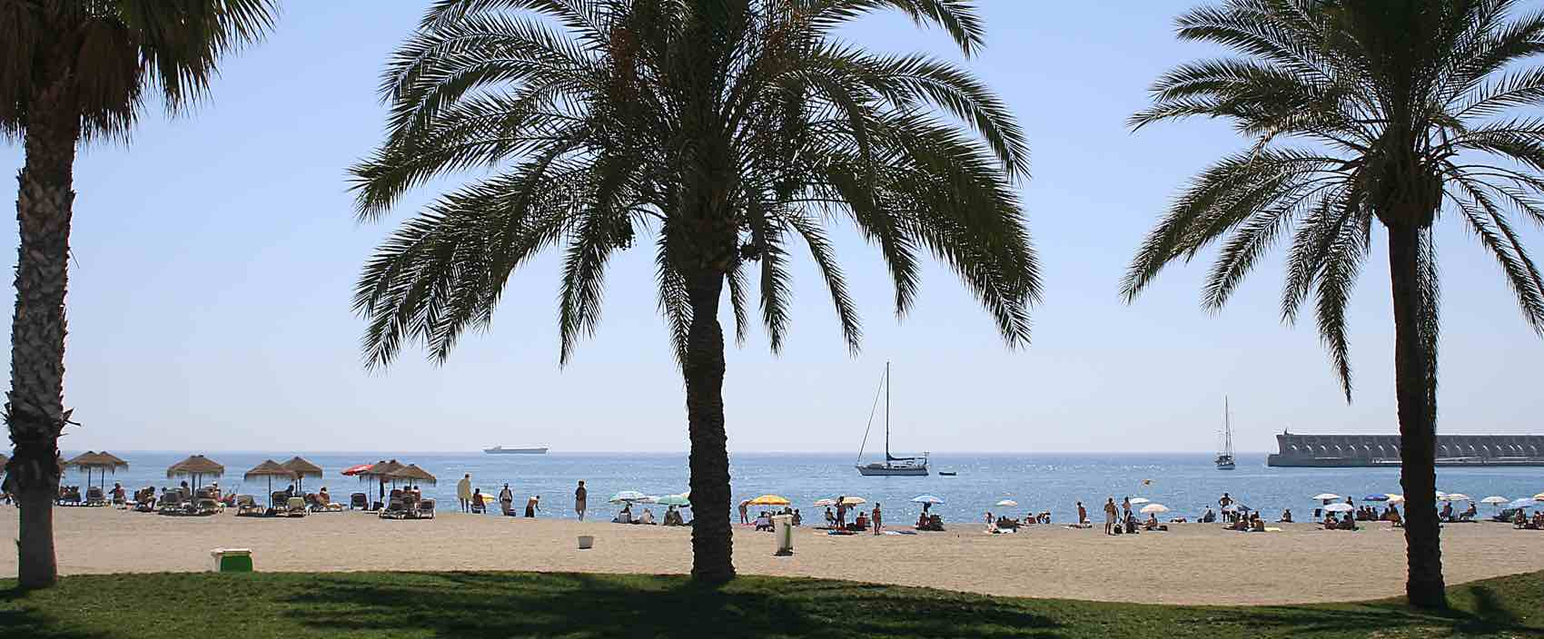 Sand in the city: Beach Malagueta is a part of the central part of Malaga