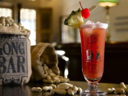Singapore Sling Cocktail served at Long Bar in Singapore