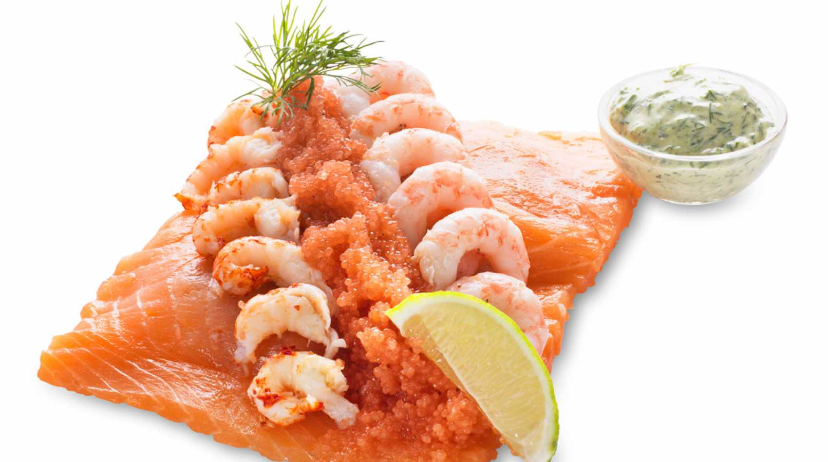 "Ida Davidsen:""Victor Borge"" Raw salmon on homemade white bread with, crayfish tales, lumpfish caviart, Ida's hand peeled shrimps, lime and dild mayo on the side"