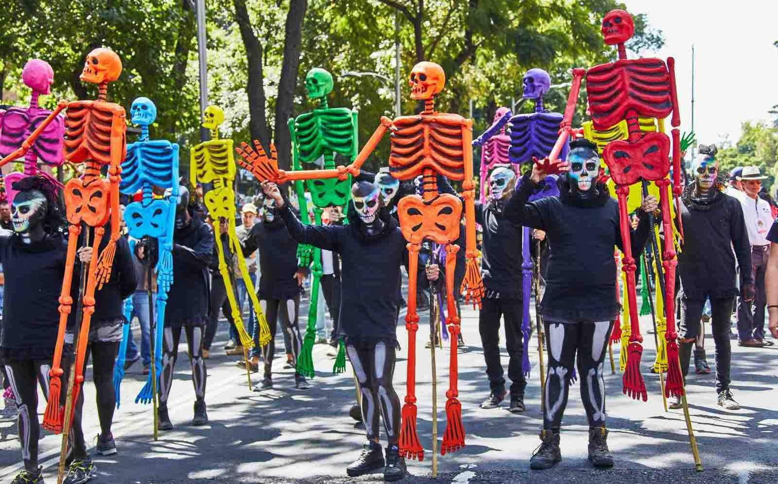 Parade in Mexico City with La Catrina