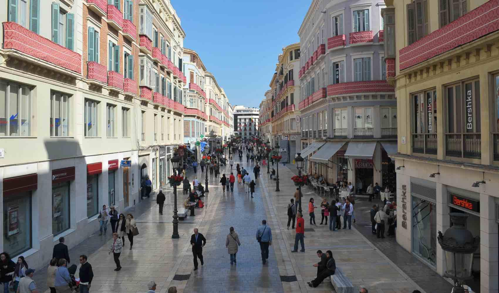 Calle Larios, the elegant main walking street in the centre of Malaga City