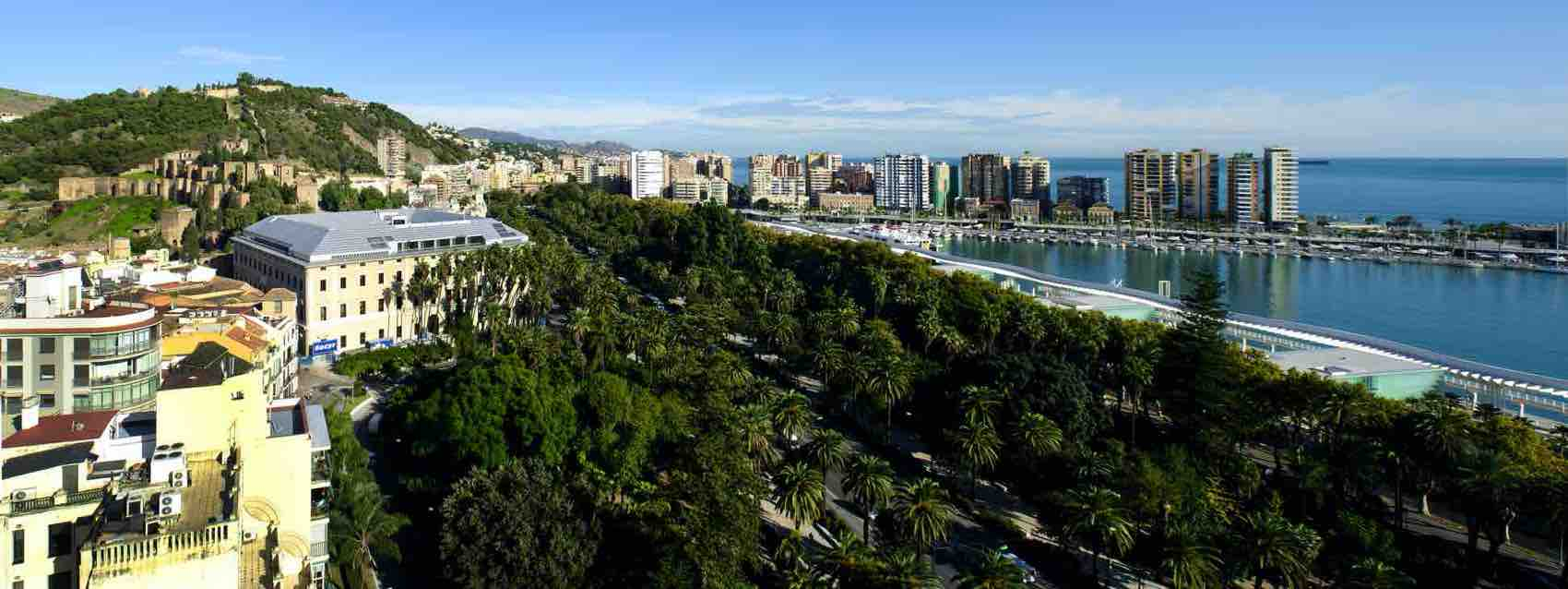 Scenery of Malaga. With the Malaga Park and the harbour as part of the city center