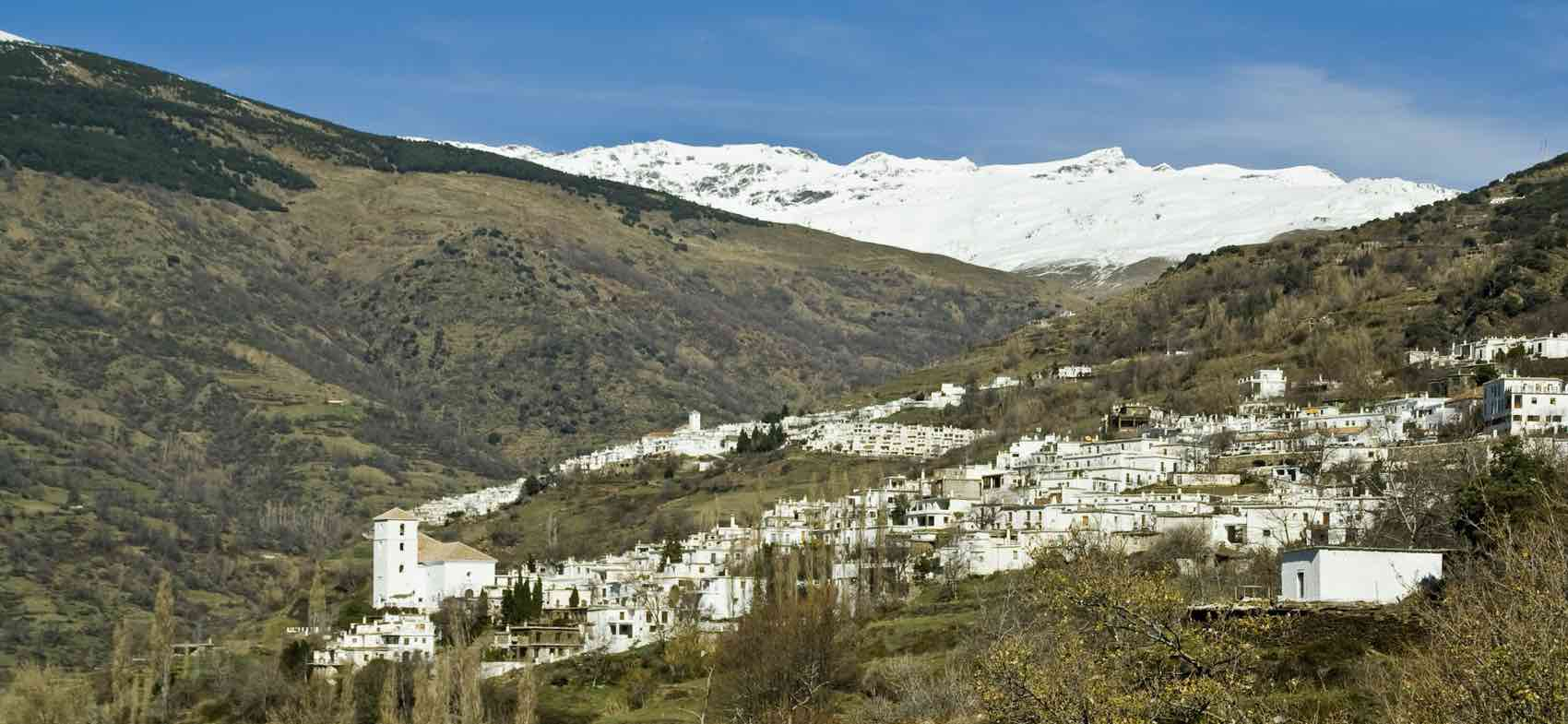 Alpujarra and snow on Sierra Nevada. A beautiful bike route of approximately 100 km
