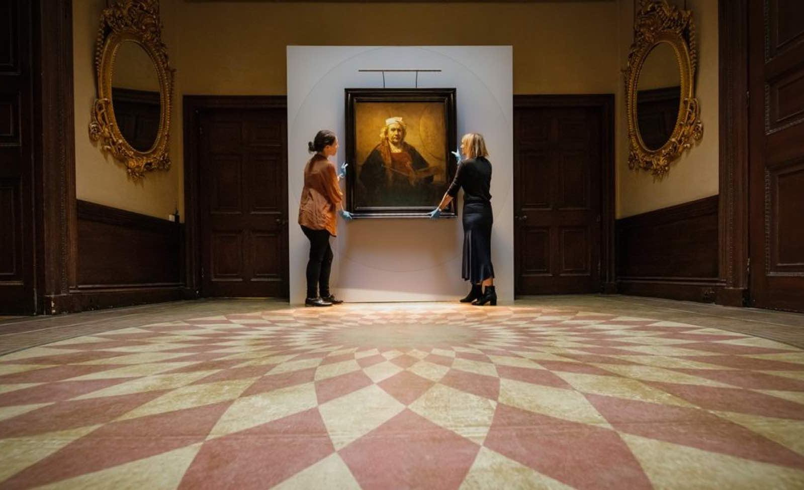 Curators put the final touches to Rembrandt exhibition at Kenwood House, north London.