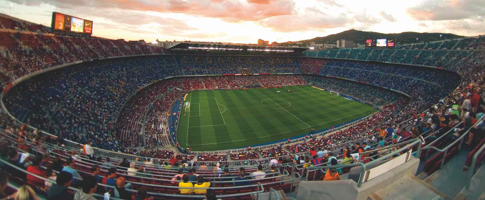 Gigantic Camp Nou stadium in perspective - can seat up to 90,000 Barca-fans