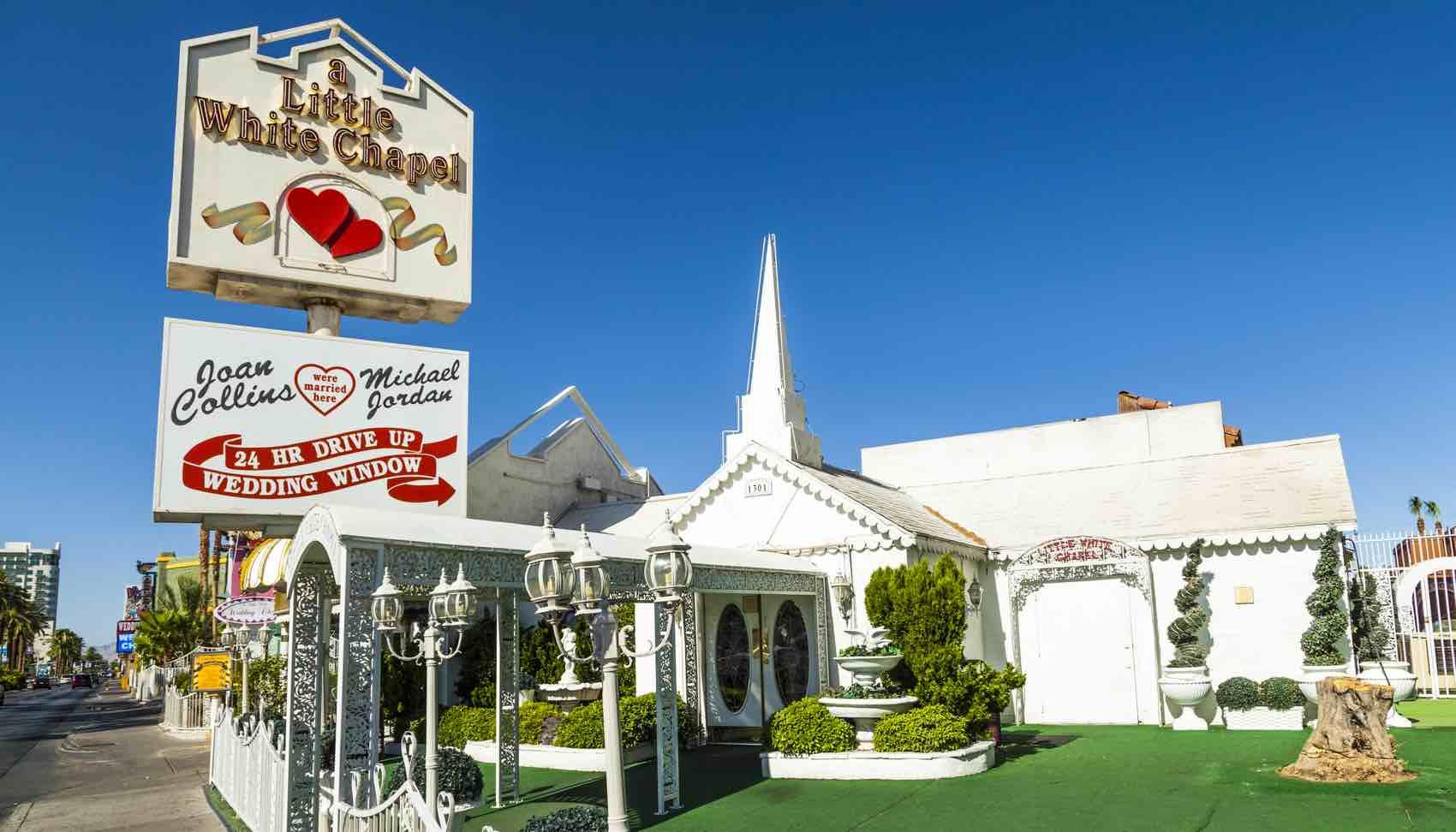 Little White Wedding Chapel in Las Vegas. Michael Jordan and Joan Collins married in that chapel.