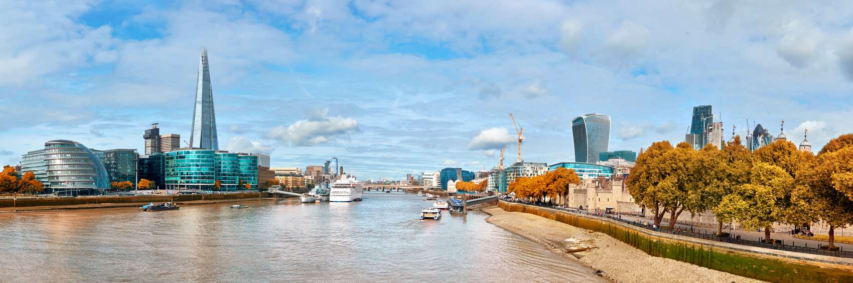 South Bank of The Thames on a bright day. Panoramic image taken from the Tower bridge.