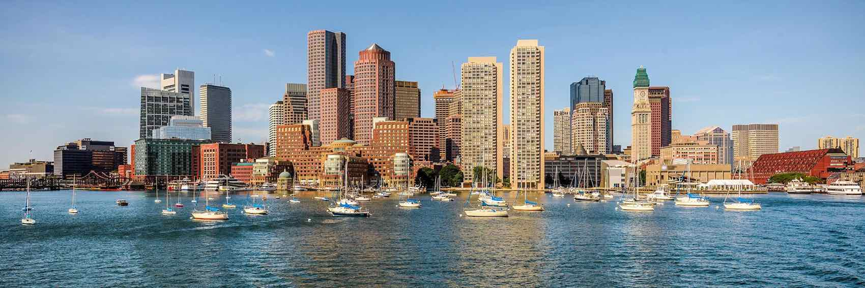 The city of Boston by waterfront