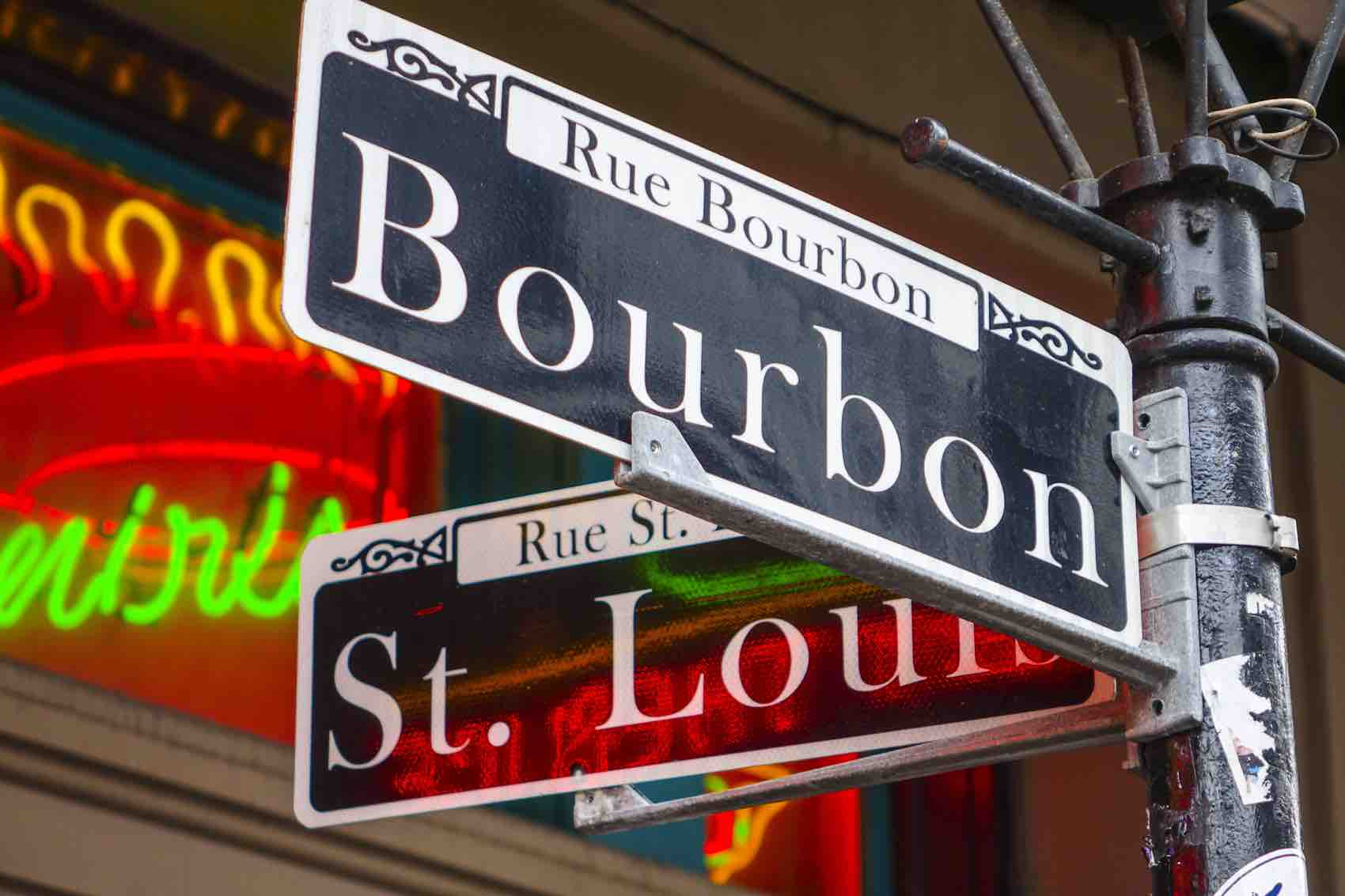 Sign of New Orleans most famous street Bourbon street at French Quarter
