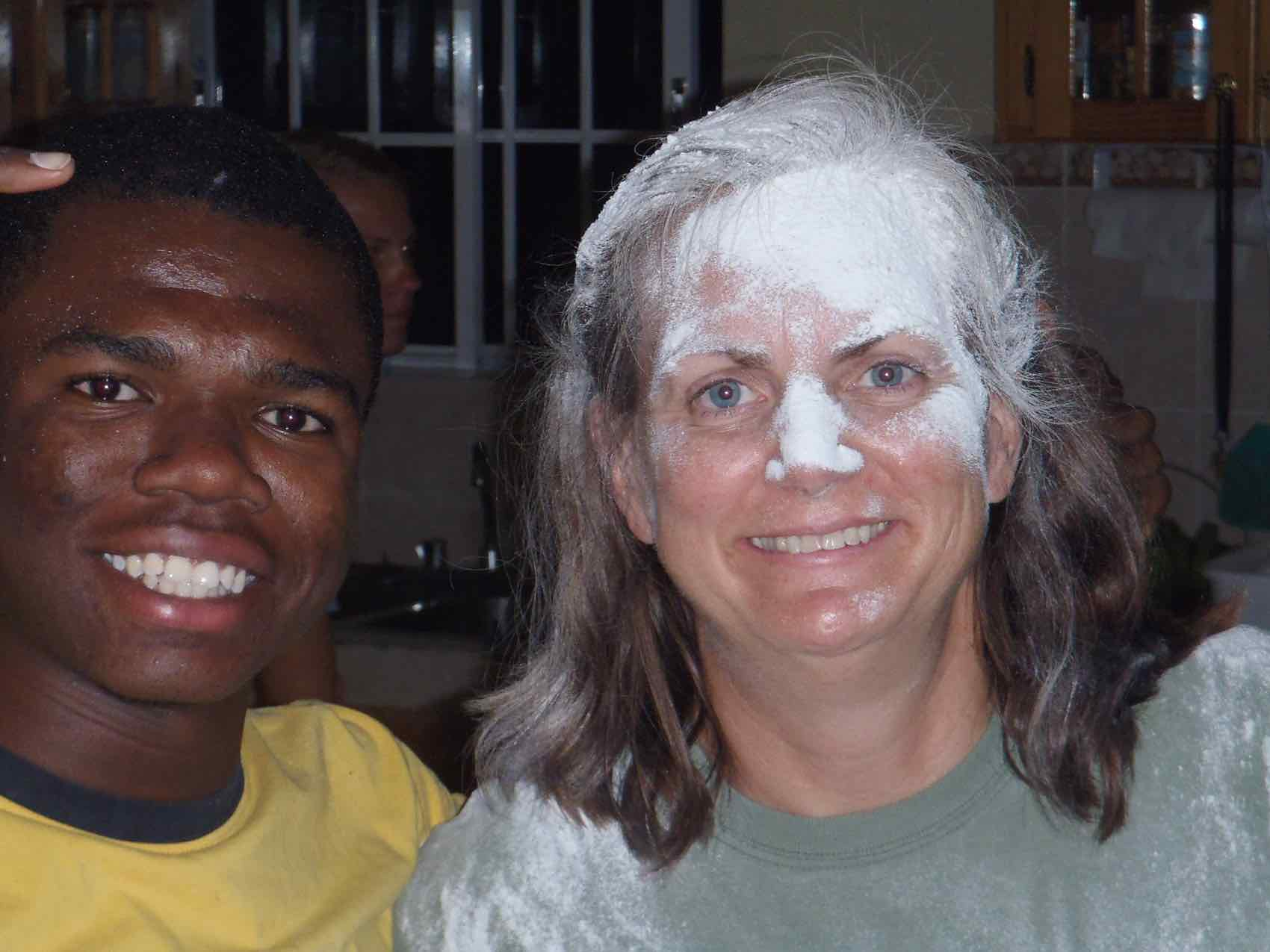 in Jamaica they think dousing their friends with flour is fun