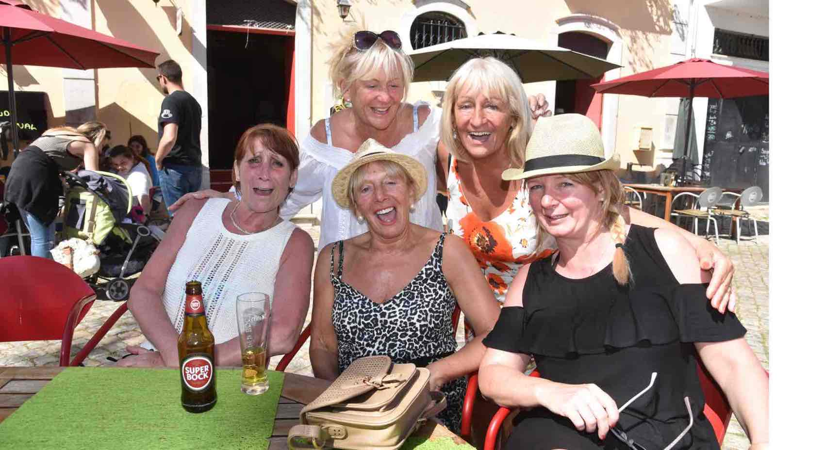 Happy days: Some women from England in Tavira for the first time.