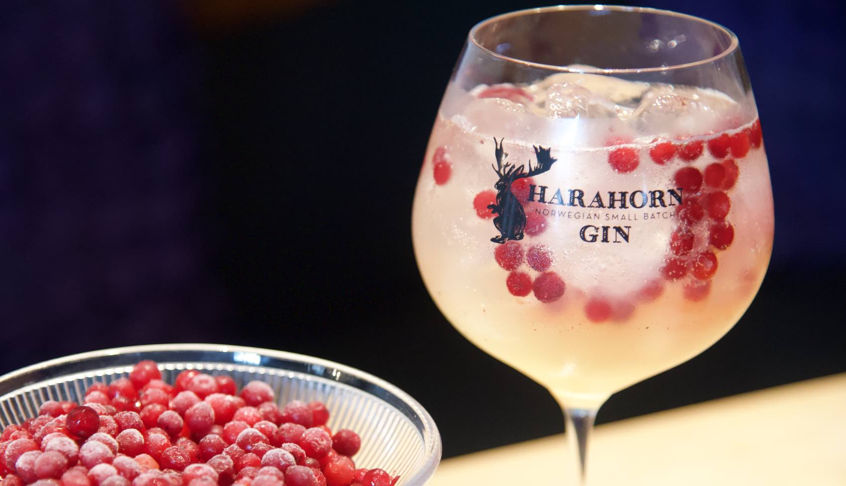 An arctic cocktail made of Harahorn Gin produced in Norway and awarded with international awards.