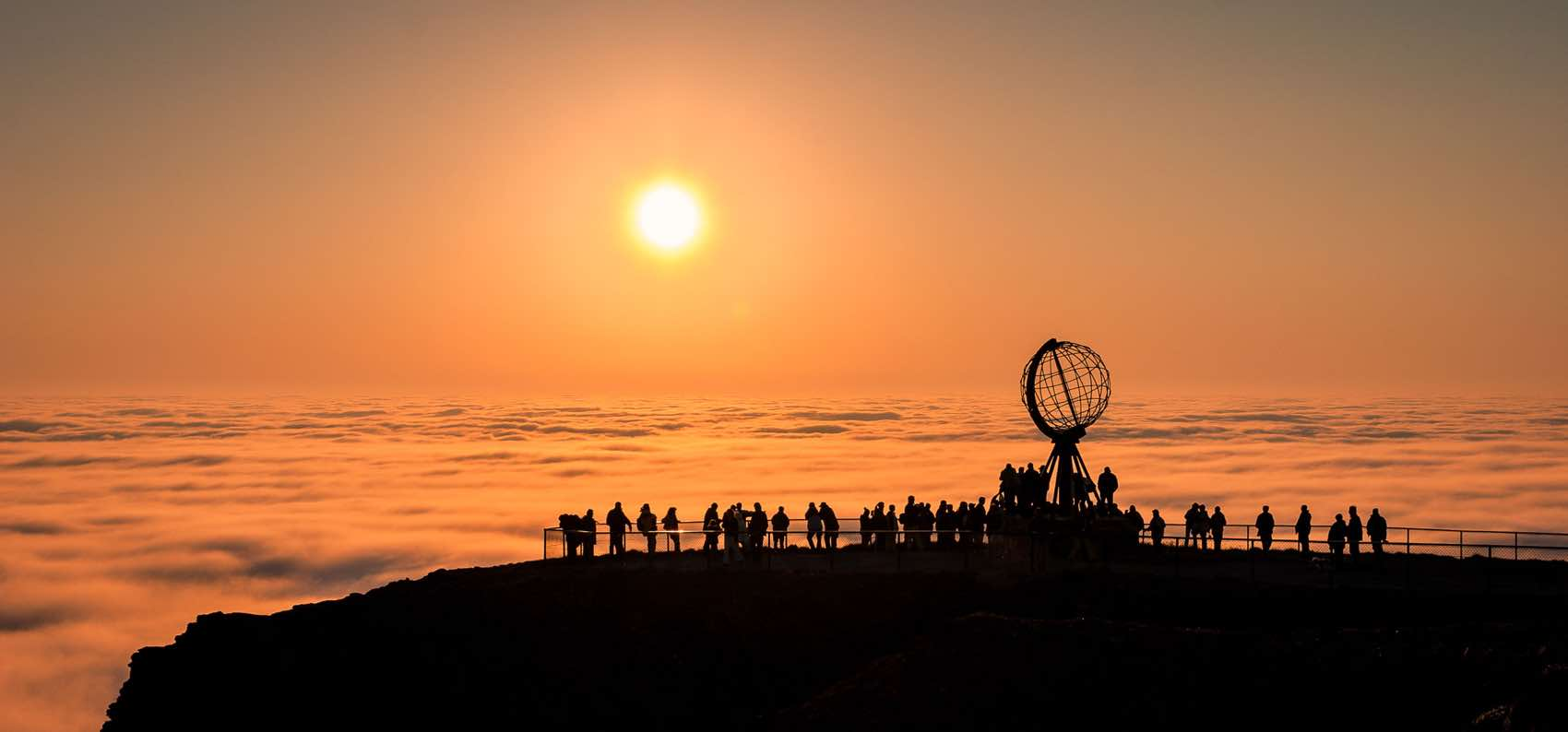 The Midnight Sun, the crowd at North Cape, the most Northern spot on mainland Europe.