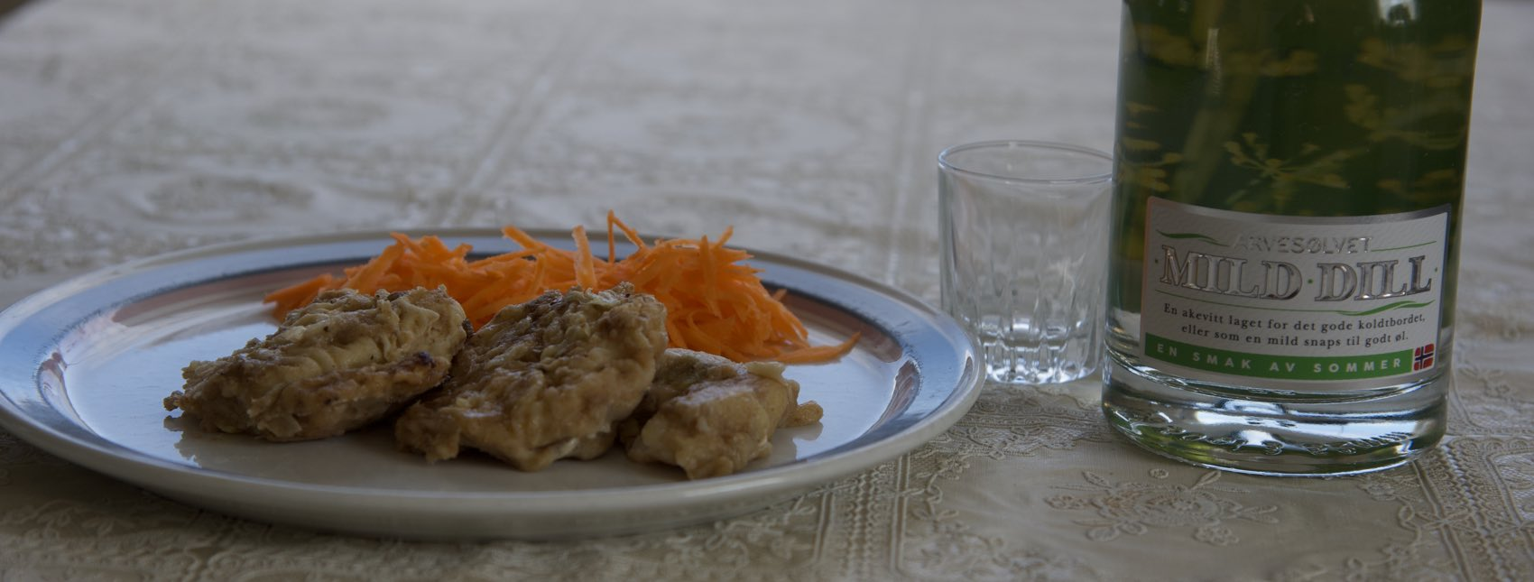 A Norwegian delicacy, pan-fried cod tongue - served with aquavit